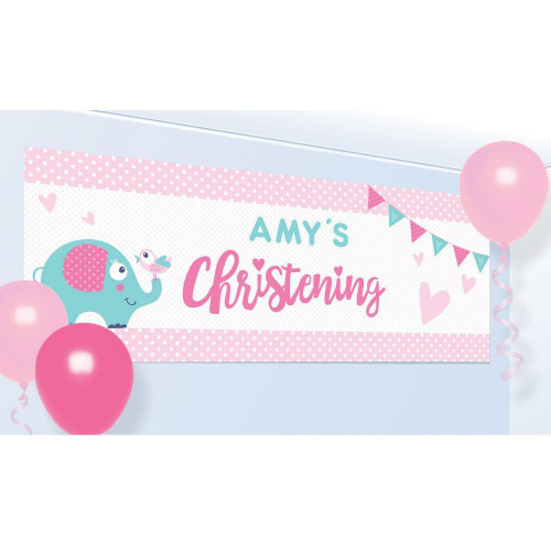 Pink Christening Personalised Banner