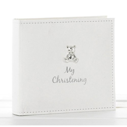 White Suede My Christening Album with Silver Teddy Motif