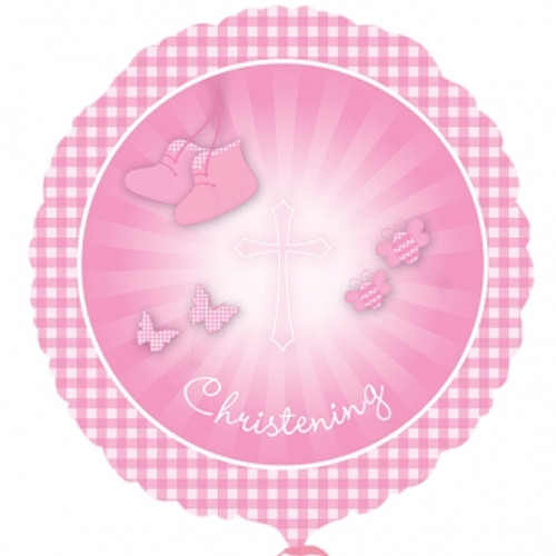 H100 17in Foil Balloon Christening Pink