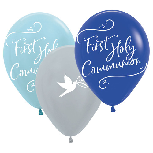 11in Latex Balloons First Holy Communion Blue PK6