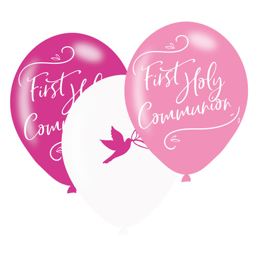 11in Latex Balloons First Holy Communion Pink PK6