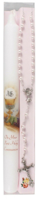 1st Holy Communion Candle and Rosary Set Pink Rosary Beads Communion Gift Girl