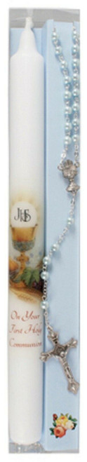 1st Holy Communion Candle and Rosary Set Boy Rosary Beads Communion Gift Boy