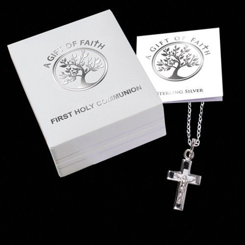 First Holy Communion Sterling Silver Crucifix & Chain Necklace in Gift Box