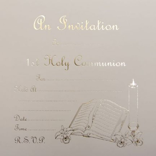 1st Holy Communion Invitations Pk10 White and Silver