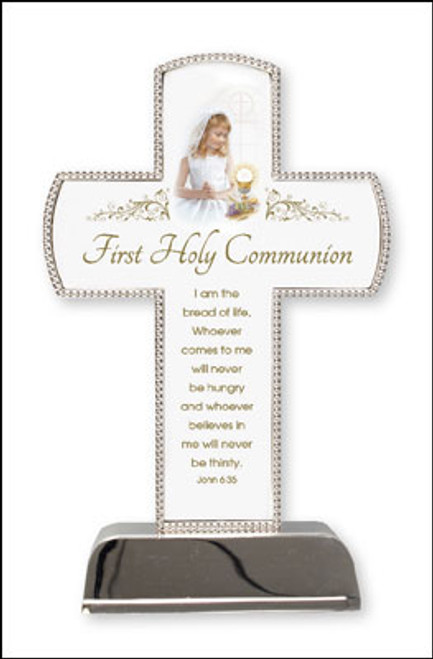 First Holy Communion Gift Silver Plated Cross with Beaded Edge On Base Girl
