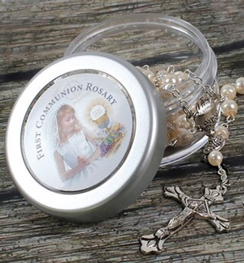 Communion Rosary Beads Pearl