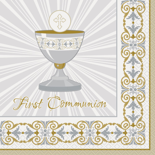 Gold and Silver Radiant Cross First Communion Napkins Pk16 2Ply