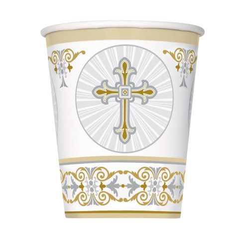 Gold and Silver Radiant Cross Cups Pk8 9oz