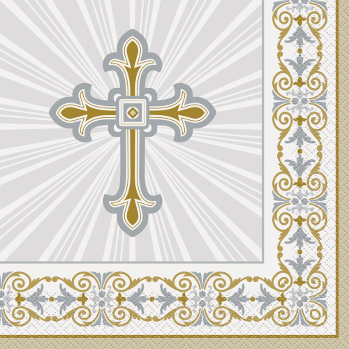 Gold and Silver Radiant Cross Lunch Napkins Pk16 2Ply