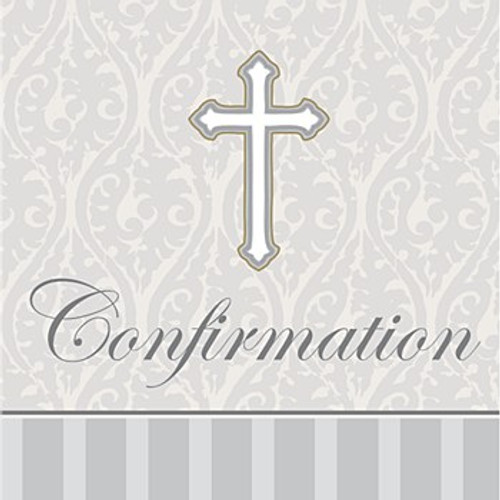 Silver Confirmation Lunch Napkins Pk16 3Ply