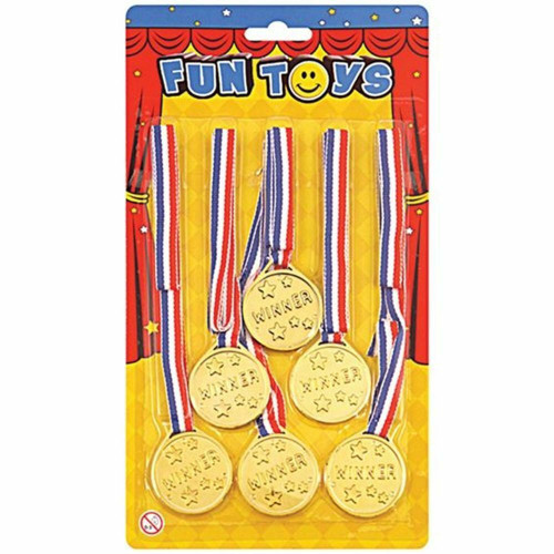 Gold Plastic Winners Award Medals With Cord Pk6