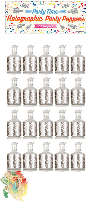 Party Poppers Holo Silver Pk 20