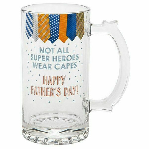Tankard Not All Super Heroes Wear Capes Happy Fathers Day Glass Beer Gift
