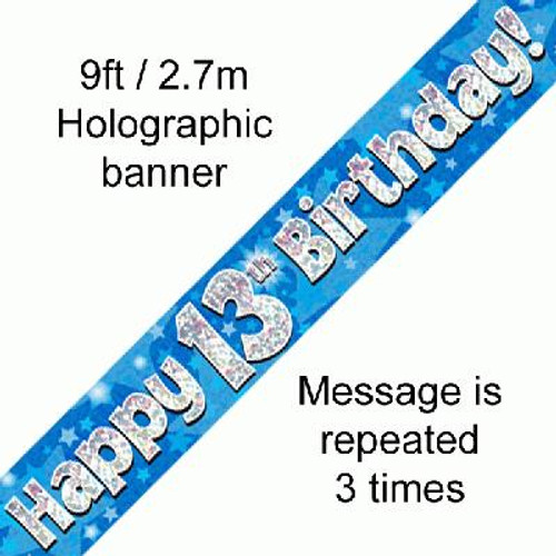 Blue Holographic Banner Age 13 9ft