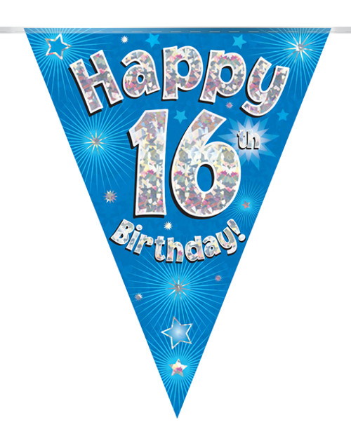 Blue Holographic Bunting 11 Flags Age 16