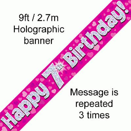 Pink Holographic Banner Age 7 9ft