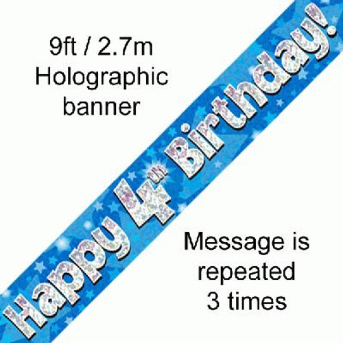 Blue Holographic Banner Age 4 9ft