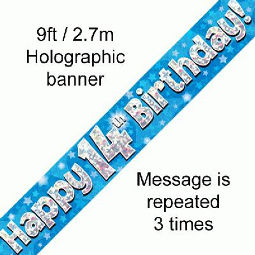 Blue Holographic Banner Age 14 9ft