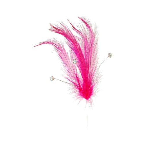 Diamante Feathers Pk6 stems Hot Pink