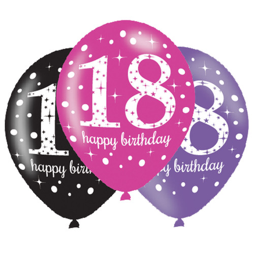 11in Latex Balloons Age 18 Pink Celebration Pk6
