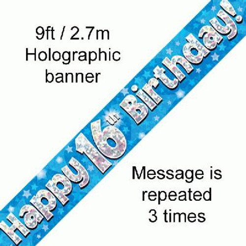 Blue Holographic Banner Age 16 9ft