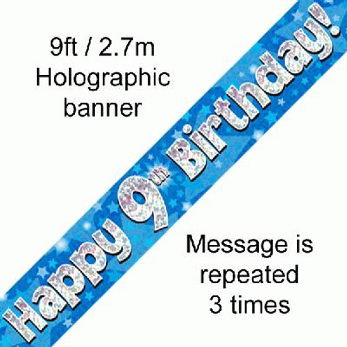Blue Holographic Banner Age 9 9ft
