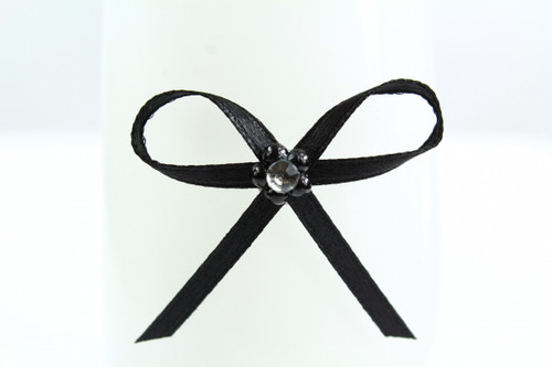 Ribbon Bow 3mm D/F Satin with Diamante Pack12 Black Self Adhesive