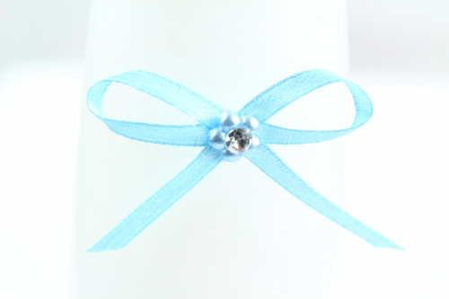 Ribbon Bow 3mm D/F Satin with Diamante Pack12 Blue Self Adhesive