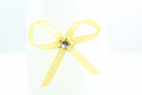 Ribbon Bow 3mm D/F Satin with Diamante Pack12 Gold Self Adhesive
