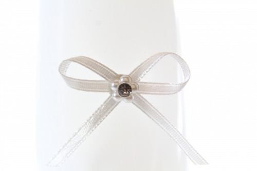 Ribbon Bow 3mm D/F Satin with Diamante Pack12 Ivory Self Adhesive
