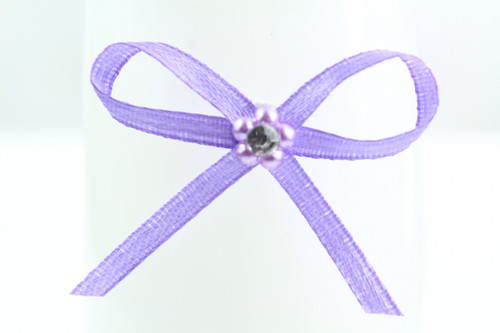 Ribbon Bow 3mm D/F Satin with Diamante Pack12 Lilac Self Adhesive