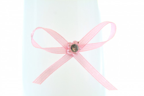 Ribbon Bow 3mm D/F Satin with Diamante Pack12 Pink Self Adhesive