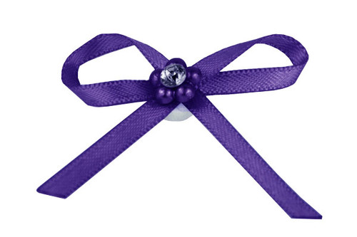 Ribbon Bow 3mm D/F Satin with Diamante Pack12 Purple Self Adhesive