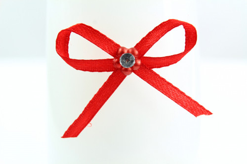Ribbon Bow 3mm D/F Satin with Diamante Pack12 Red  Self Adhesive
