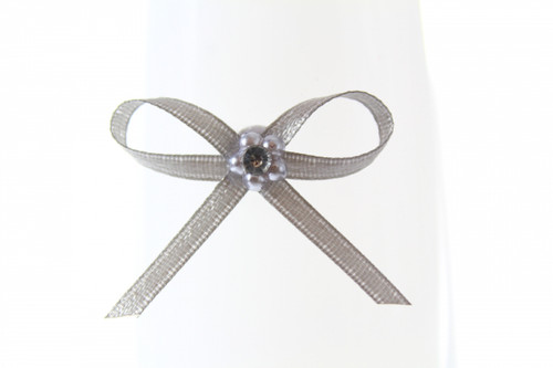 Ribbon Bow 3mm D/F Satin with Diamante Pack12 Silver Self Adhesive