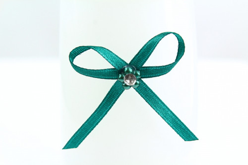 Ribbon Bow 3mm D/F Satin with Diamante Pack12 Teal Self Adhesive