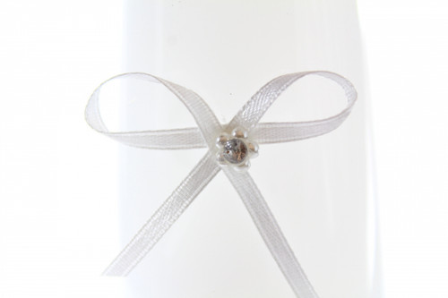 Ribbon Bow 3mm D/F Satin with Diamante Pack12 White Self Adhesive