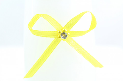 Ribbon Bow 3mm D/F Satin with Diamante Pack12 Yellow Self Adhesive