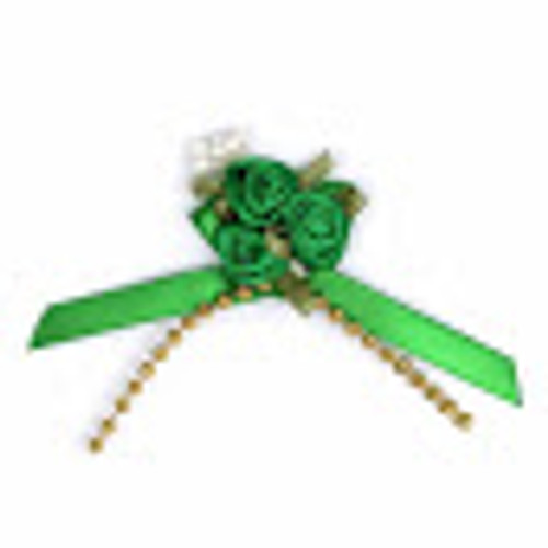 Ribbon Rose Bows Beads 6mm Pack20 Emerald Green