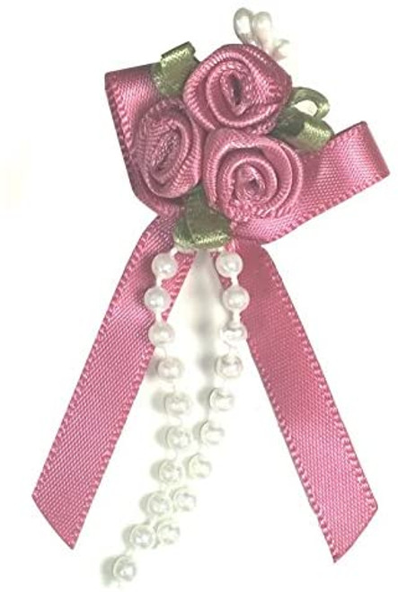 Ribbon Rose Bows Tails 6mm Pack20  Fuschia