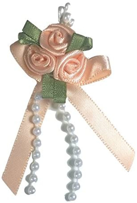 Ribbon Rose Bows Tails 6mm Pack20  Peach