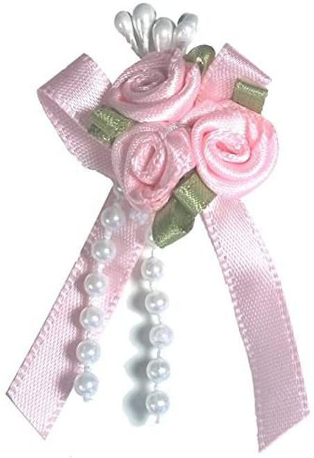 Ribbon Rose Bows Tails 6mm Pack20  Pink