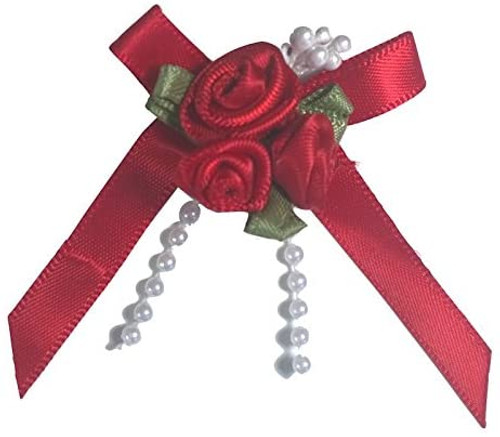 Ribbon Rose Bows Tails 6mm Pack20  Red