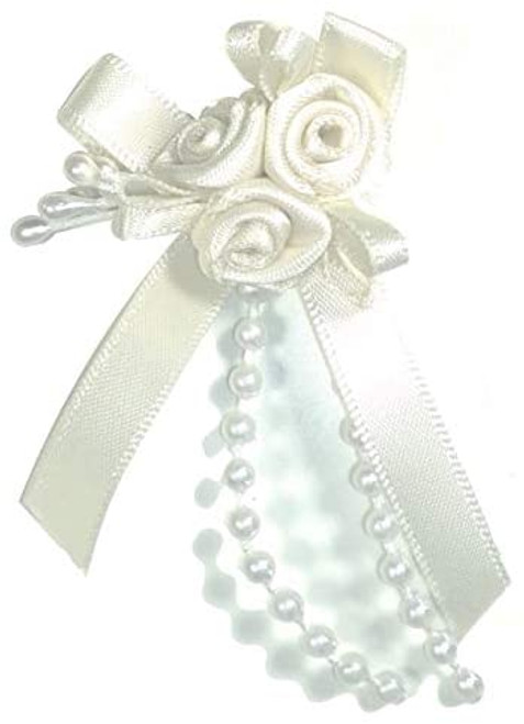 Ribbon Rose Bows Tails 6mm Pack20  Wh/Wh