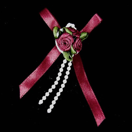 Ribbon Rose Bows Tails 6mm Pack20 Burgundy
