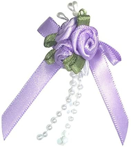 Ribbon Rose Bows Tails 6mm Pack20 Lilac