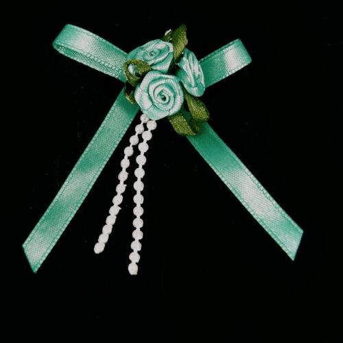 Ribbon Rose Bows Tails 6mm Pack20 Mint Green
