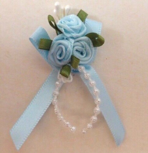 Ribbon Rose Bows Tails 6mm Pack20 Pale Blue