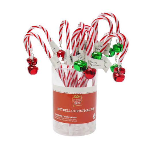 PEN CANDY CANE WITH NUTBELL 20cm